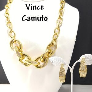 Vince Camuto Rhinestone Chunky Necklace & Earrings